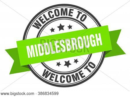 Middlesbrough Stamp. Welcome To Middlesbrough Green Sign