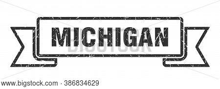 Michigan Ribbon. Black Michigan Grunge Band Sign