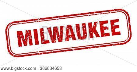 Milwaukee Stamp. Milwaukee Red Grunge Isolated Sign