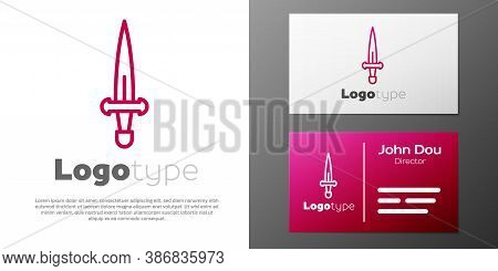 Logotype Line Dagger Icon Isolated On White Background. Knife Icon. Sword With Sharp Blade. Logo Des
