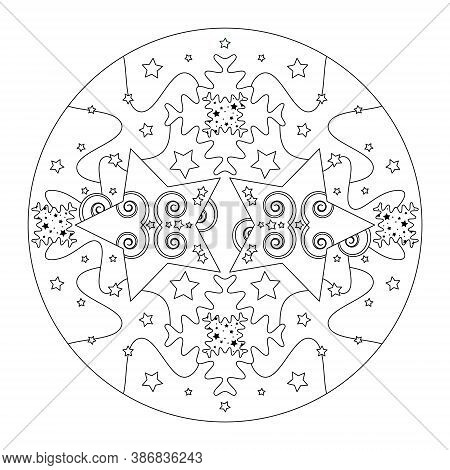 Christmas Mandala. Christmas Coloring Page. Mandala Of Stars And Puzzle Pieces Style Effect. Black A
