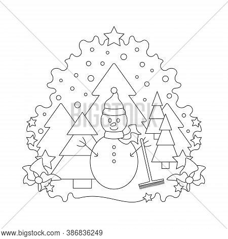 Snowman And Fir Forest, Falling Snow. Christmas Theme. Black And White. Vector Illustration.
