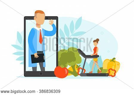 Young Woman Having Online Consultation With Nutritionist Doctor, Healthy Nutrition And Dieting, Weig