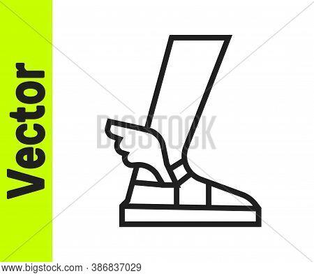 Black Line Hermes Sandal Icon Isolated On White Background. Ancient Greek God Hermes. Running Shoe W