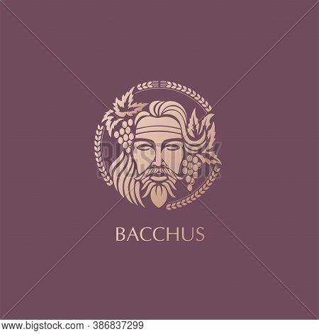Man Face Logo With Grape Berries And Leaves. Bacchus Or Dionysus. A Style For Winemakers Or Brewers.