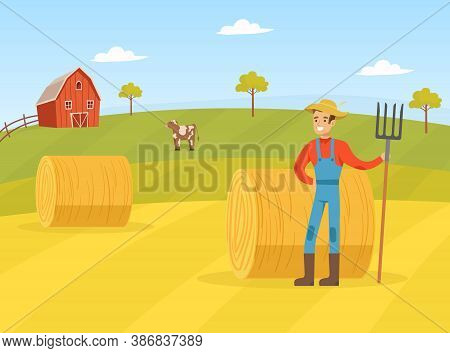 Farmer Standing With Pitchfork On Background Of Hay Bale, Agricultural Worker Character In Overalls