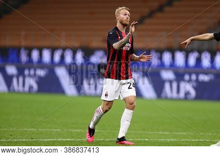 Milano, Italy. 24th September 2020. Uefa Europa League. Simon Kjaer Of Ac Milan   During The Uefa Eu