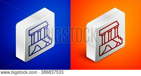 Isometric Line Parthenon From Athens, Acropolis, Greece Icon Isolated On Blue And Orange Background.