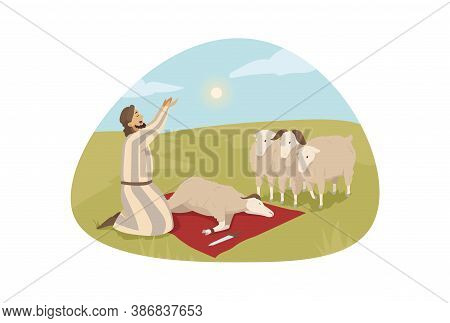 Bible, Religion, Character, Sacrificial Offering Concept. Young Man Guy Shepherd Cartoon Character P