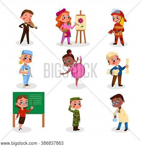 Cute Boys And Girls Of Various Professions Set, Kids Hobby Or Future Profession Concept Cartoon Styl