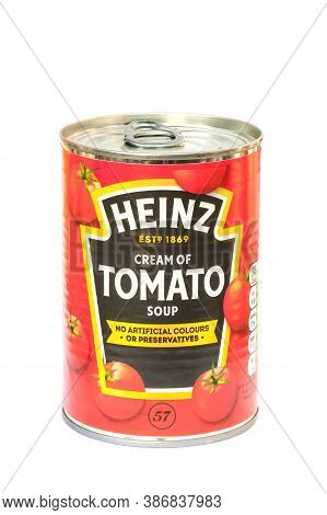 Yateley, Uk - September 22: Isolated Can Of Cream Of Tomato Soup. The H.j. Heinz / Kraft Food Compan