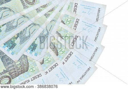 10 Croatian Kuna Bills Lies Isolated On White Background With Copy Space Stacked In Fan Shape Close