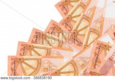 5 Belorussian Rubles Bills Lies In Different Order Isolated On White. Local Banking Or Money Making