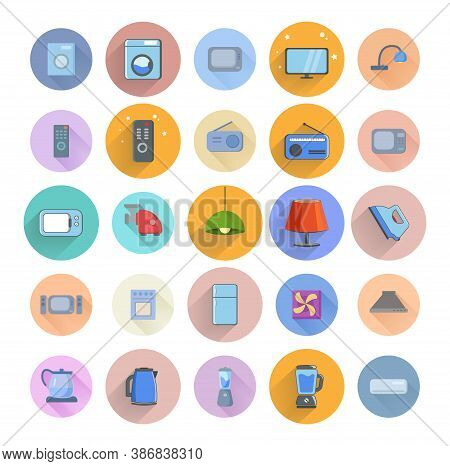 Set Of Household Appliances Icons. Home Appliances Flat Icon Set With Long Shadow With Tv, Fridge, K