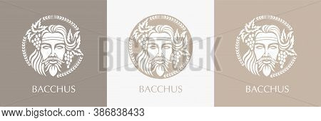Man Face Logo With Grape Berries And Leaves.