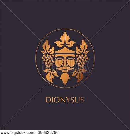 Man Face Logo With Grape Berries And Leaves. Bacchus Or Dionysus. Antique Style For Winemakers Or Wi