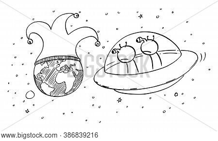Vector Cartoon Stick Figure Drawing Conceptual Illustration Of Two Funny Aliens In Ufo Or Flying Sau