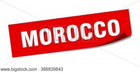 Morocco Sticker. Morocco Red Square Peeler Sign