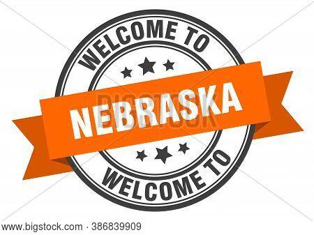 Nebraska Stamp. Welcome To Nebraska Orange Sign