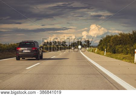 Highway D1/czech Republic - 08 20 2019: Car Driving On The Highway To The Horizon, In Nature, On A B