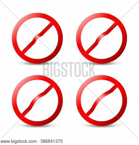 Prohibit Sign Empty Template - Crosser Out Red Forbidden Caution Circle In 3d Embossed Style - Isola