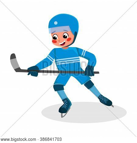 Boy Playing Hockey, Kid Practicing Sports Game, Doing Physical Exercise, Active Healthy Lifestyle Co