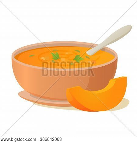 A Plate Of Pumpkin Soup With A Spoon.hot Vegetable Soup.