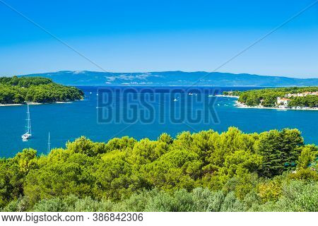 Olive Trees And Beautiful Adriatic Seascape, Sail Boat In Lagoon On The Island Of Cres In Croatia