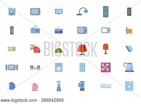 Set Of Household Appliances Icons. Home Appliances Flat Icon Set With Tv, Fridge, Kitchen Appliances