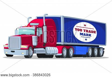 Vector American Semi Truck With Isothermal Semi Trailer