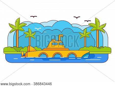 Yellow Submarine.sea Adventure Trip. Underwater Ship.flat Line Art Vector. Window And Periscope.cart