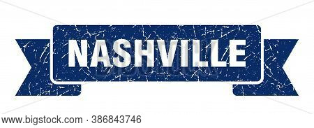 Nashville Ribbon. Blue Nashville Grunge Band Sign
