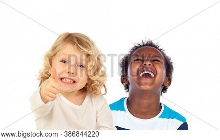Two funny children laughing isolated on a white background