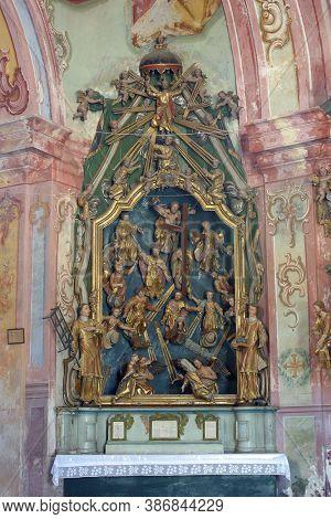KRAPINA, CROATIA - JULY 01, 2013: Altar of Fourteen Holy Helpers in Church of Our Lady of Jerusalem at Trski Vrh in Krapina, Croatia