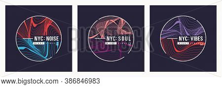 Set Of Nyc T Shirt Vector Abstract Designs, Posters, Prints, Templates.