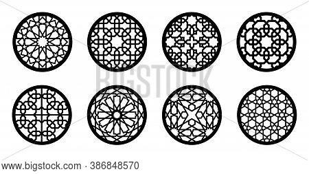 Cnc Laser Pattern. Arabesque Circle, Round Element Set For Laser Cutting , Stencil, Engraving. Geome