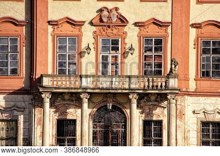 Detail Of The Balcony Of The Ruined Libechov Castle With Row Of Windows