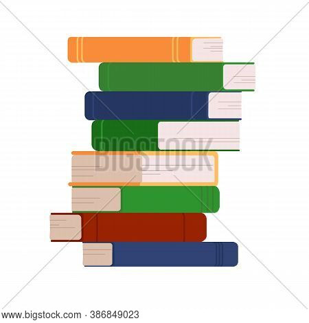 A Stack Of Books On A White Background. Various Books. Vertically Stacked Books