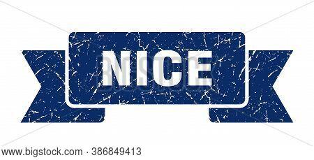 Nice Ribbon. Blue Nice Grunge Band Sign