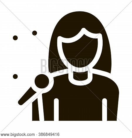 Female Singer With Microphone Sing Recital Glyph Icon . Microphone And Dynamic, Concert And Theater,
