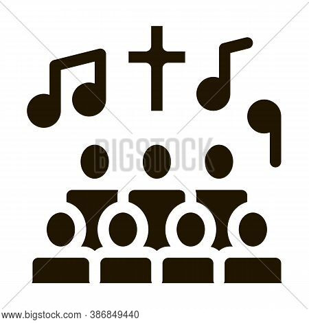 Church Choir Singing Song Concert Glyph Icon . Microphone And Dynamic, Concert And Theater, Opera An