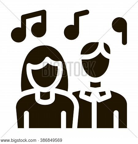 Human Silhouettes Singing Song In Karaoke Glyph Icon . Treble Clef And Headphones, Concert, Opera An