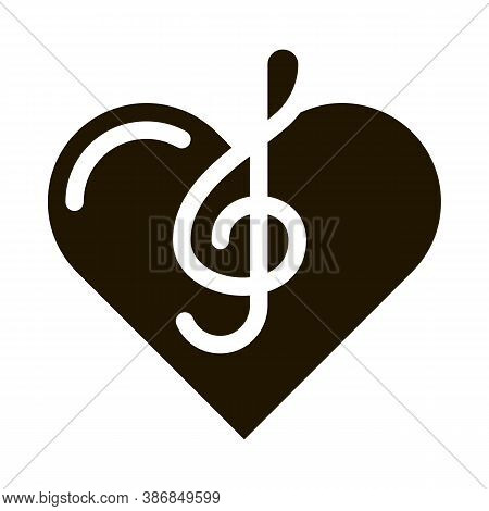 Treble Clef And Heart Song Element Glyph Icon . Treble Clef And Headphones, Concert, Opera And Singi