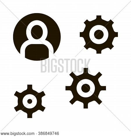 Gear Mechanism And Man Silhouette Agile Glyph Icon . Agile Rocket And Document, Sandglass And Packag