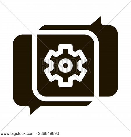 Gear In Quotation Frame Agile Element Glyph Icon . Agile Rocket And Document, Sandglass And Package,