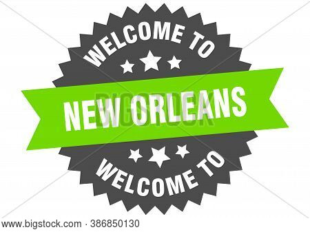 New Orleans Sign. Welcome To New Orleans Green Sticker