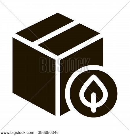Closed Carton Box With Plant Leaf Glyph Icon . Open And Closed Carton Packaging Pictogram. Parcel, S