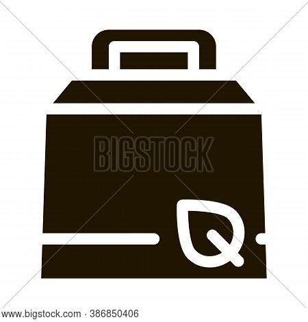 Carton Package With Handle And Plant Leaf Glyph Icon . Open And Closed Packaging Pictogram. Parcel,
