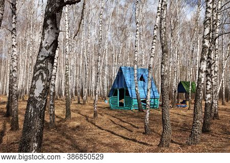 Landscape With Summerhouse And Birches On Background