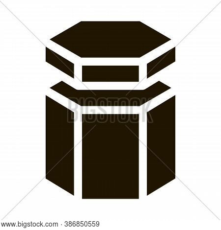 Carton Container In Hexagon Form Packaging Glyph Icon . Carton Open And Closed Packaging Pictogram.